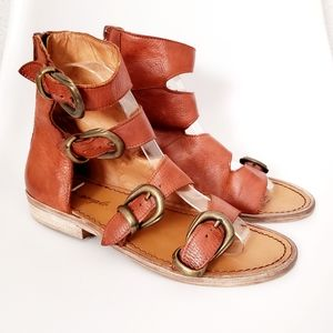Free People Brown Leather Buckle Gladiator Sandals